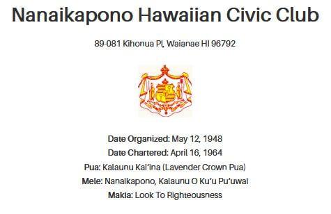 Nanaikapono Hawaiian Civic Club Logo